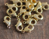 30pcs Gold Lobster Claw Clasps 10mm, 24K Gold plated Brass, Necklace Bracelet Charm Clasps (GB-027)