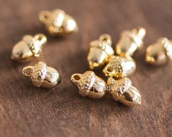 10pcs Mini Gold plated Brass Solid Acorn Charms 9x6mm, Lead Nickel Free (GB-067)