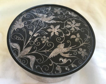 Vintage Oneida Silver Plated Bowl with Black Bakelite Top Lid with Inlaid Birds Storage Box