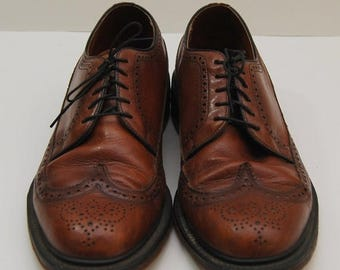 SALE mens 1970s brown leather wingtop oxford shoes