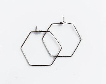 Geometric Hoop Earrings, Hexagon Hoop Earrings, Small Silver Hoops, Lightweight Sterling Silver Hoops