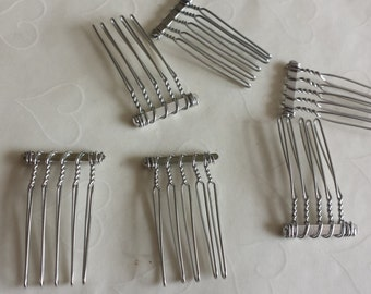 New Item -- 6 pieces of Nickel Plated 5 teeth Hair Comb -- 24x37 mm