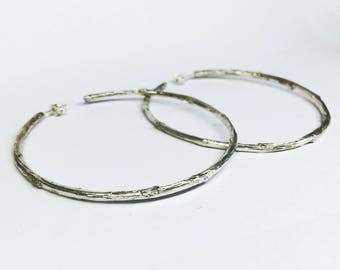 branch jewelry Sterling Silver Twig branch Hoop Earrings