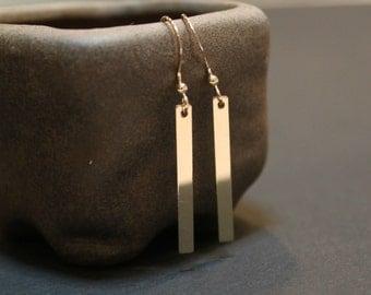 Slim Bar Minimalist Gold Earrings