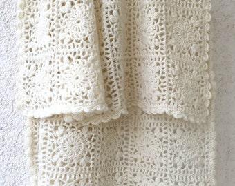 Crochet baby blanket. Hand crochet christening baby blanket. Newborn blanket. Wool blanket.