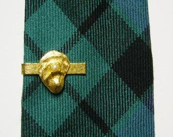 Vintage Oyster w/ Faux Pearl Tie Clip - Gold Tone Metal Necktie Clip - Novelty