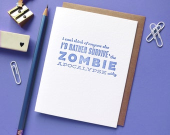 zombie pick-up line letterpress card