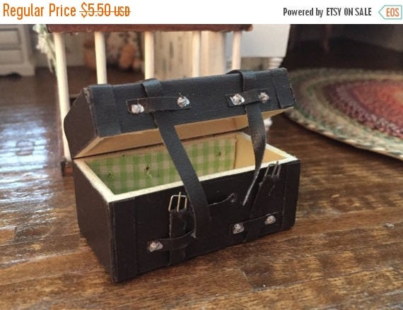 SALE Miniature Steamer Trunk, Style 834, Dollhouse Miniature, 1:12 Scale, Dollhouse Accessory, Mini Trunk With Buckles, Dollhouse Mini Decor