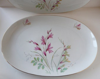 "Edelstein Bavaria China Alamedo 13"" Oval Platter Mid Century Germany Floral Spray"