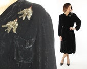 Vintage 30s Black Velvet Party Dress Sequin Swallow Birds Long Sleeves Flapper Great Gatsby 1930s Large L