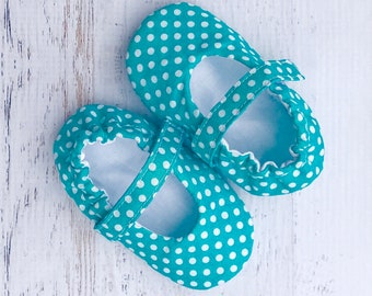 Mary Jane baby girl shoes - teal baby shoes - infant shoes - toddler shoes - dressy shoes for baby