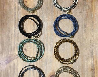 Beaded Wrap Bracelet or Necklace with Semi-Precious Stones & Magnetic Closure
