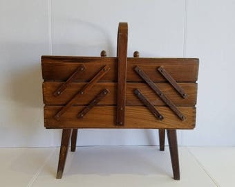 Vintage Large Mid Century Wood Accordian Sewing Box Storage Box