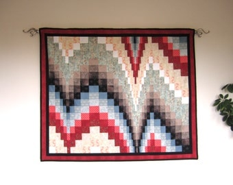 "Quilted Wallhanging ""Bargello Curves"" Art Quilt, Wall Art, Quiltsy Handmade"