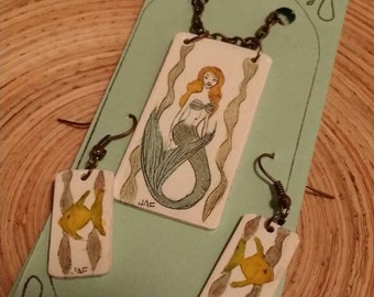 Scrimshaw Jewelry Set Lovely Underwater Mermaid and Fish OOAK Great Gift Idea