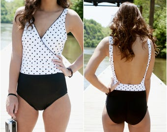 Backless One Piece - Polka Dot Swimsuit - Low Back Swimsuit - Black White Swimsuit - Retro Swimsuit - Jantzen Swimsuit - Deep V Swimsuit