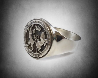 Military Intelligence MI6 James Bond section 6 sterling silver ring