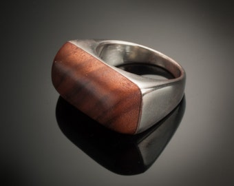 The Walter, mens chunky ring, silver and wood hand made