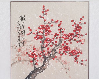 Cherry Blossom paintings Original  chinese  painting oriental art watercolour-Lovely cherry blossom tree No.73