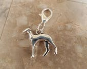 Greyhound dog pull charm ,purse pull , chain , zipper pull, charm bracelet, necklace, wallet jacket anything with a zipper