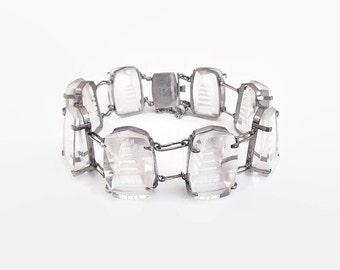 Rock Crystal Sterling Silver Pagoda Bracelet - Intaglio Bracelet, Made in Japan, Japanese Jewelry, Vintage Bracelet, Crystal Bracelet