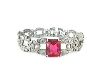 Art Deco Sterling Silver Ruby Glass Bracelet - Pink Stone, Paste Rhinestone, Art Deco Jewelry, Vintage Bracelet, Bride Bridal Jewelry