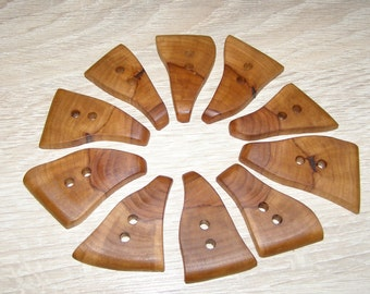 "10 Handmade  apple wood buttons, accessories ( 1,96"" x 1,18"")"