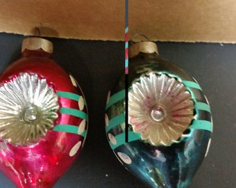 vintage  Christmas blown glass ornaments 1950's hand painted  set of 2