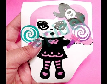 Creepy Cotton Candy TM  Layered Vinyl Decal Sticker Stickers Spooky Cutie Creepy Cute Car Decal Decal Pink Hair Lollipops Lollipop Girl