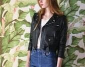 SALE Leather Motorcycle Jacket / Cropped Sleeves and Cut 1980's Moto Babe Jacket / Sturgis / Black Hills / Ladies of Harley / Easyriders