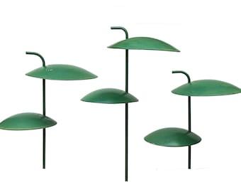 Kurt Versen Green Garden Saucer Lamps