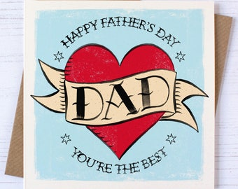 Father's Day Card | Fathers Day Card | Dad Tattoo Card | Fathers Day Tattoo Card | Father's Day Tattoo Card | Dad's tattoo card| Dad's Cards