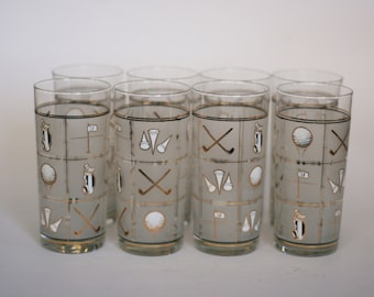 vintage culver high ball glasses with golf motif in 22 K gold