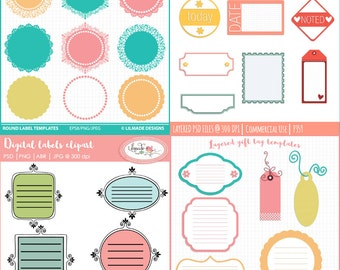 Digital tags, digital labels template bundle, Photoshop templates, PNG templates, Psd templates, candy buffet label templates, P