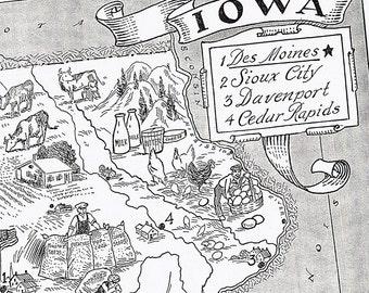 Vintage MAP Iowa, Adorable, Beautifully Illustrated, Fun, Whimsical, Des Moines, Cedar Rapids, Farm, Davenport, Sioux City