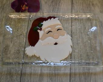 Santa Serving Tray, Fused Glass, Christmas Tray, Santa Face, Christmas Platter, Christmas Decor, Santa Decor, Housewarming Gift