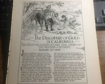 Discovery of Gold in California 1848. 1933 book page history print illustration . Art frameable history