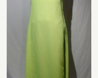 HOLIDAY SALE Vintage 1960s A-Line Apple Green Formal Prom Dress with Faux Train