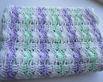 Baby Blanket,Purple, White and Green Afghan, Baby Afghan, shower gift, Toddler Blanket, crochet baby blanket, Handmade blanket, Newborn