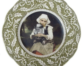 Girl and R2-D2 Portrait Plate 7""