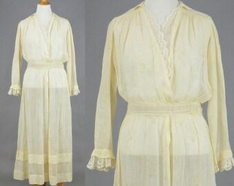 Edwardian Dress, Antique 1910s Dress, Pale Yellow Floral Cotton Lace Dress, Edwardian Tea Dress, L - XL Plus Size Dress