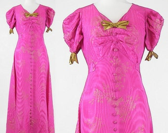 1940s Gown, Vintage 40s Fuschia Pink and Gold Evening Dress, As-Is
