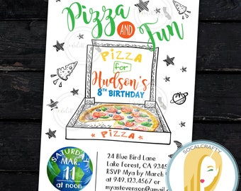 Pizza Party Invitation, Pizza Birthday Party Invitation, Pizza Invitation, Space Invitation, Astronaut DIY, Printed or Printable Invitations