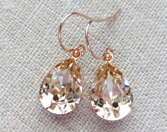 Champagne Swarovski Rose Gold Earrings, Silk Crystal Rhinestone Pear Teardrop Earrings, Bridesmaid Gifts, Bridal Jewelry, Wedding