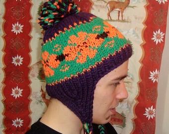 Hand Knit Hats Women Earflap hat Ear flap hat knit hat with pom pom purple orange green