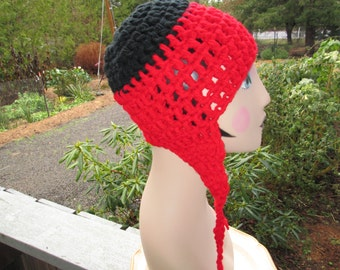 Red and Black Acrylic Earflap Hat Crocheted by SuzannesStitches, Red Earflap Hat, Aviator Hat, Trapper Hat, Acrylic Hat, Chunky Earflap Hat