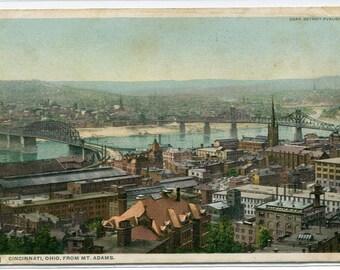 Panorama From Mt Adams Cincinnati Ohio 1910c postcard