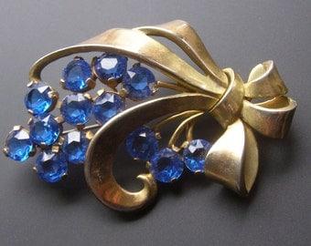 Big Bold Chunky Brooch, Vintage Cobalt Blue Rhinestone Brooch,  Flower Sprig Brooch, Vintage Coat Brooch