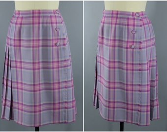Vintage Wool Kilt / Plaid Kilted Skirt / Lavender Pink Tartan / 1980s Plaid Skirt / Highland Scotland Scottish / Surrey Classics / Large L
