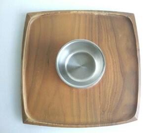 Vintage 1960s Foley Flair Walnut Snack Tray